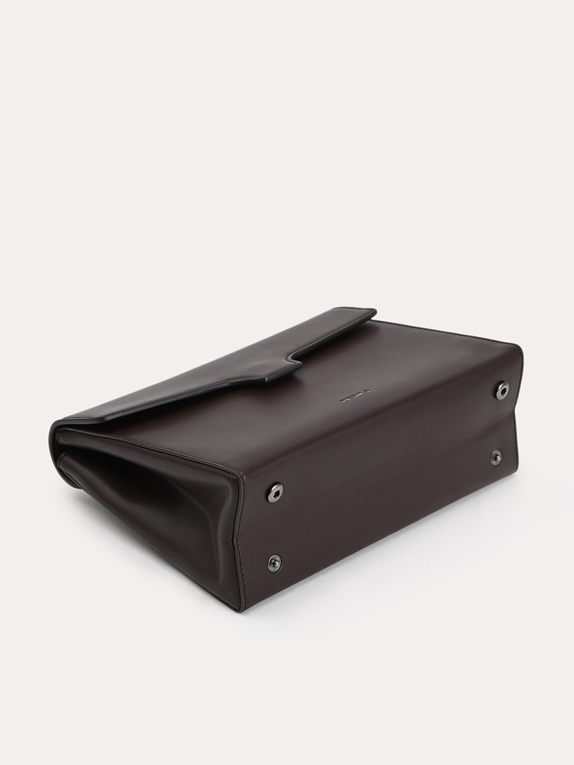 Leather Clutch, Dark Brown, hi-res