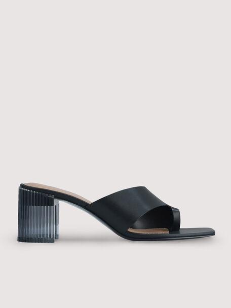 Toe Loop Sandals with Decorative Heel, Black, hi-res