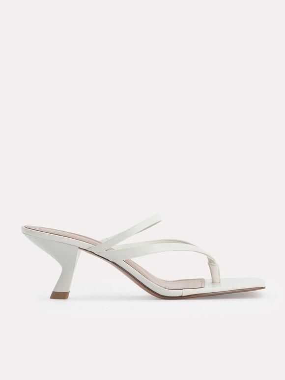 Thong Heeled Sandals, Chalk, hi-res