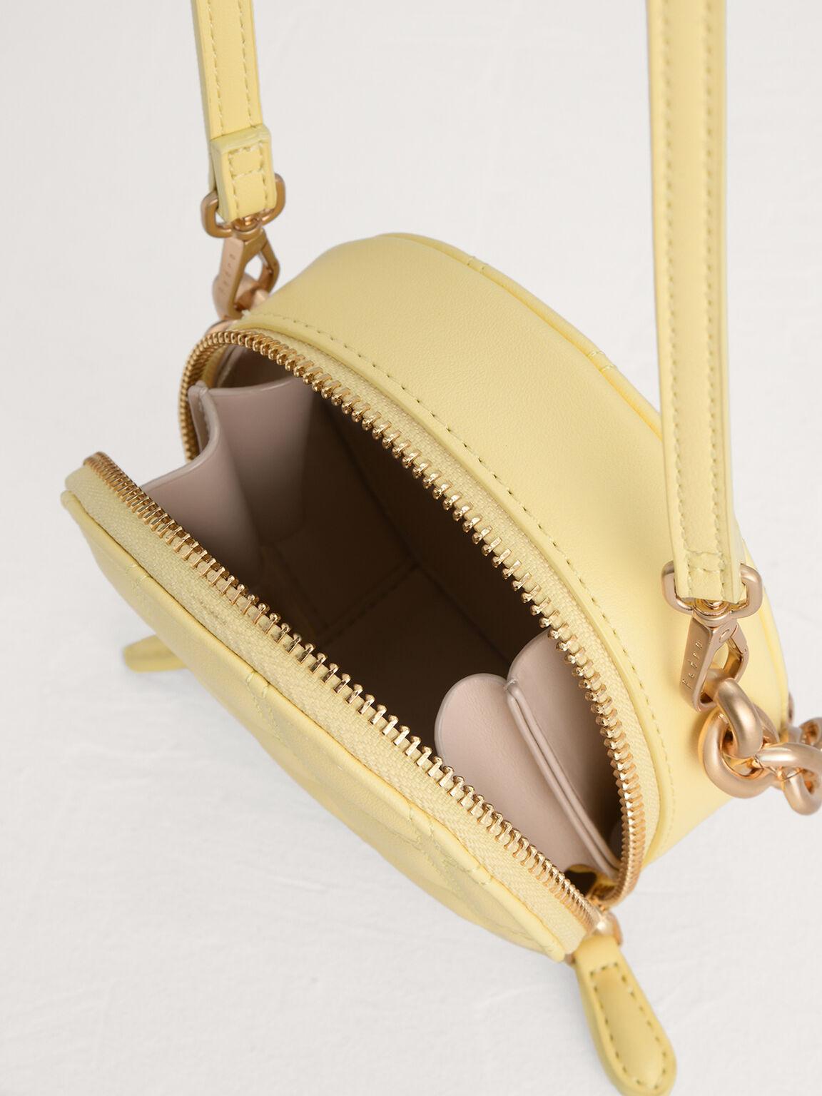 Quilted Mini Circular Shoulder Bag, Yellow, hi-res