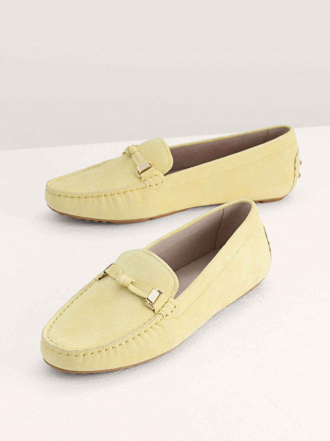 Knotted Suede Leather Moccasins, Yellow, hi-res
