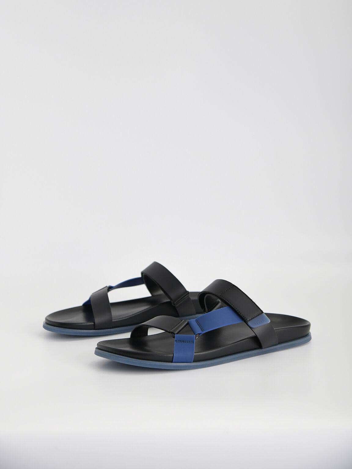 Velcro Strap Sandals, Black, hi-res