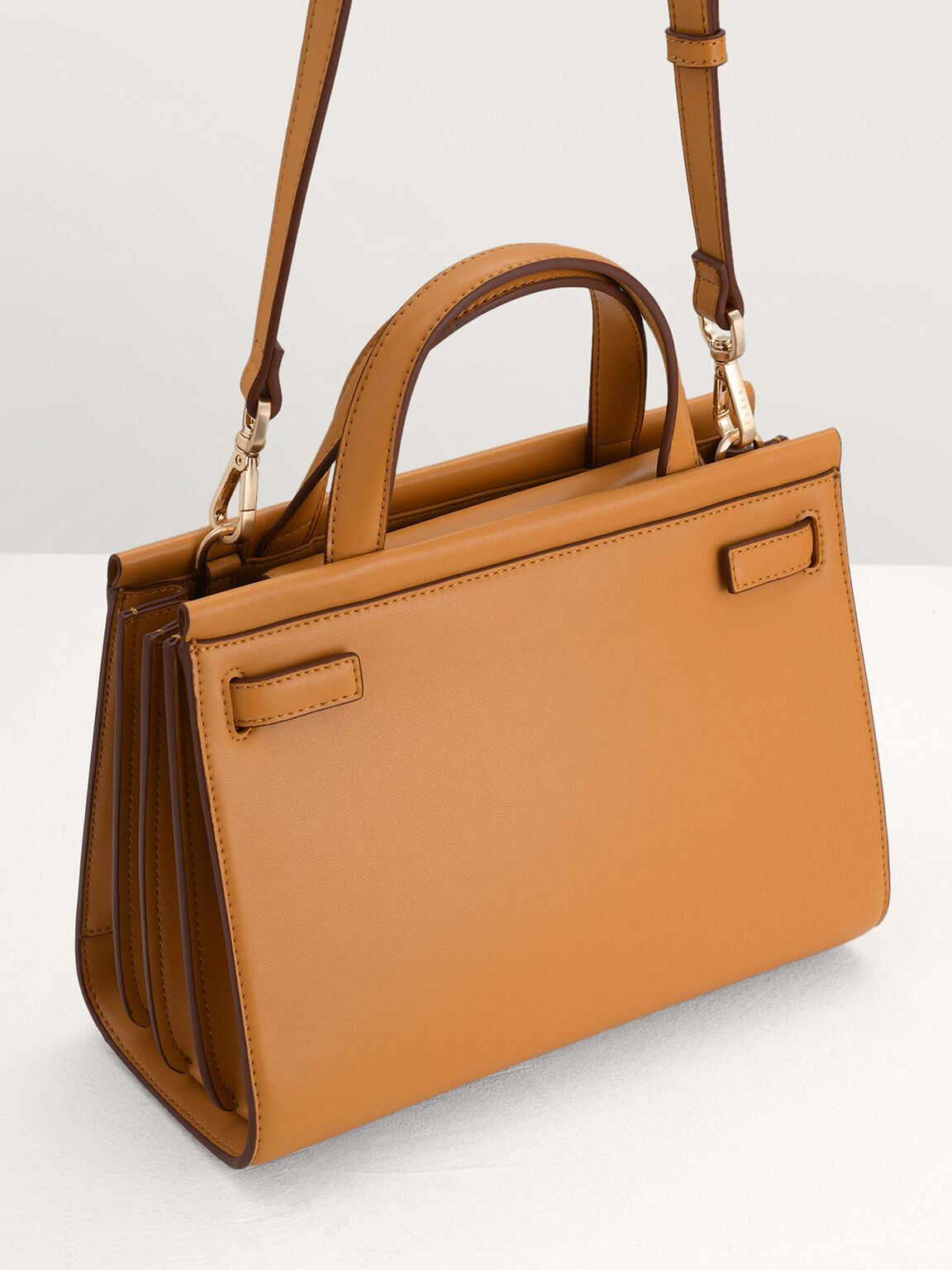 Structured Top Handle Bag, Camel, hi-res
