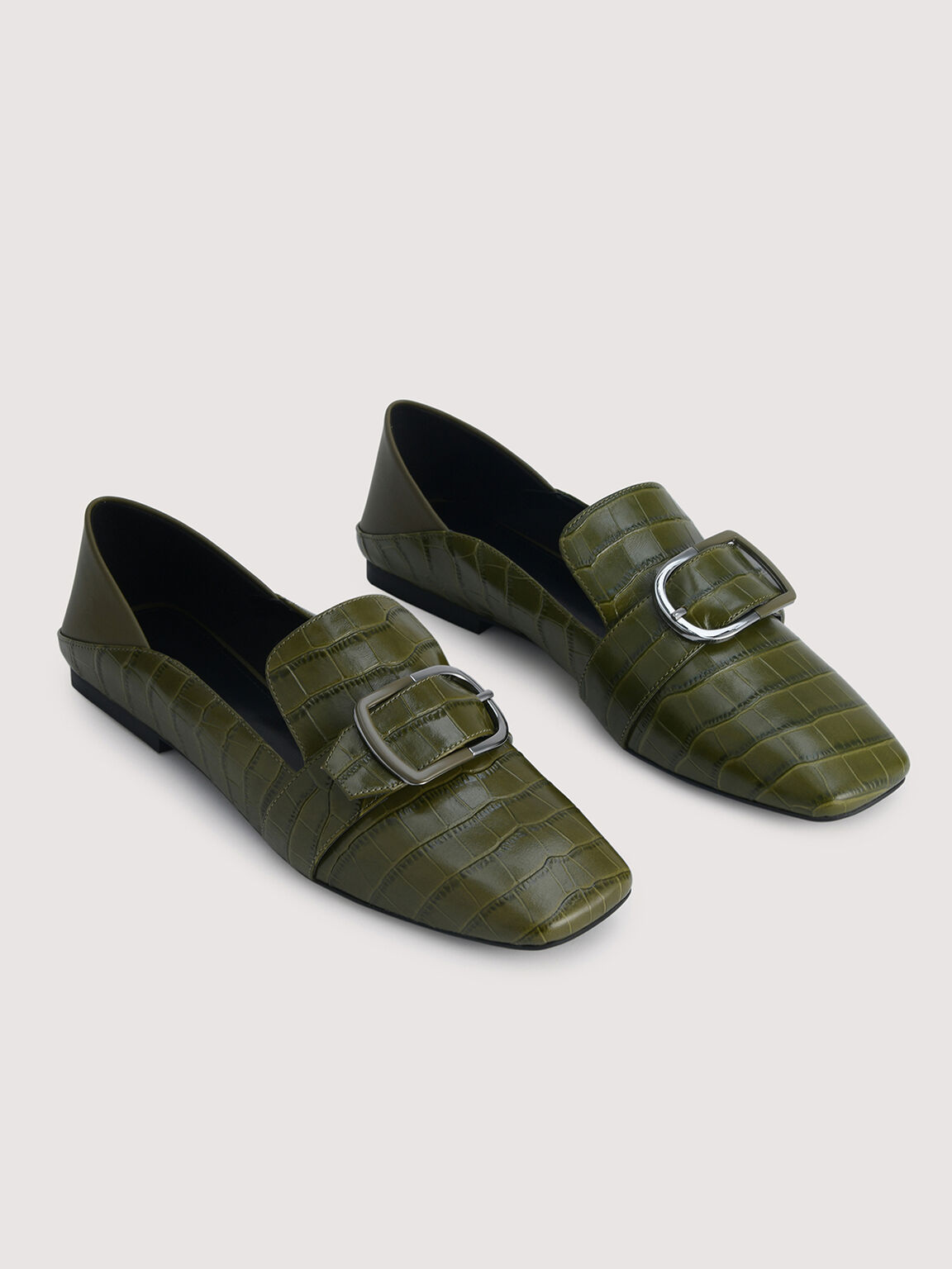 Embossed Leather Loafers, Olive, hi-res