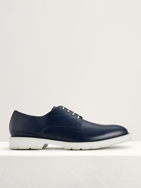 Leather Derby Shoes, Navy, hi-res
