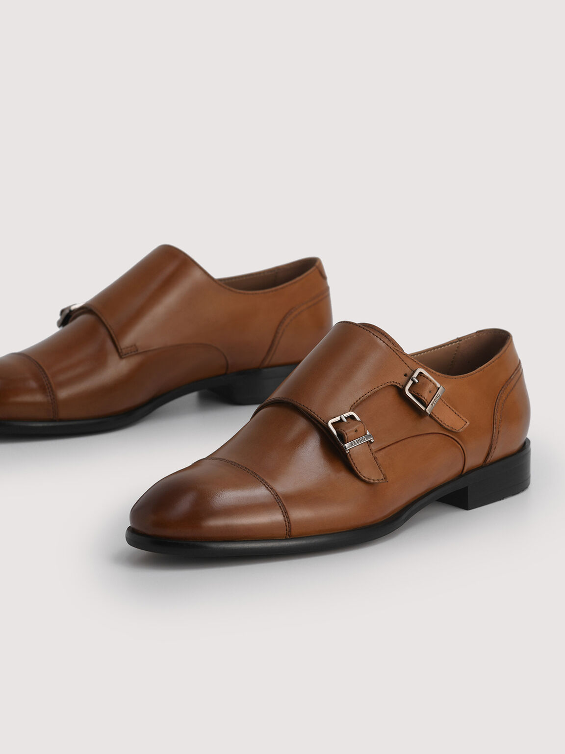 Leather Buckled Loafers, Cognac, hi-res