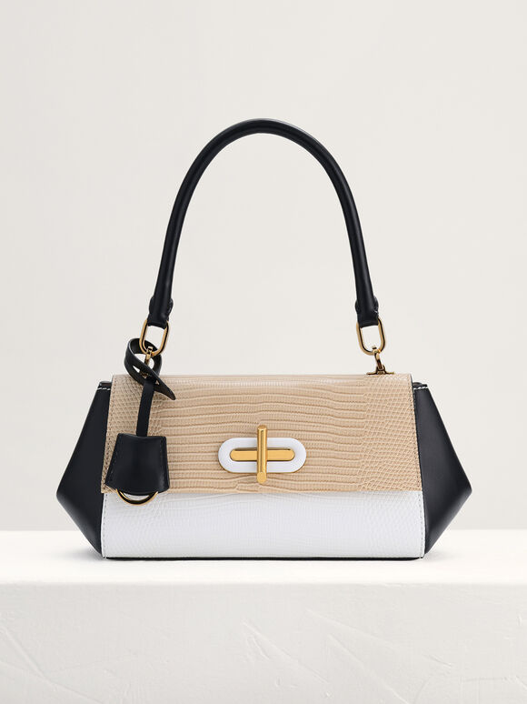 Lizard-Effect Top Handle Bag, Multi, hi-res