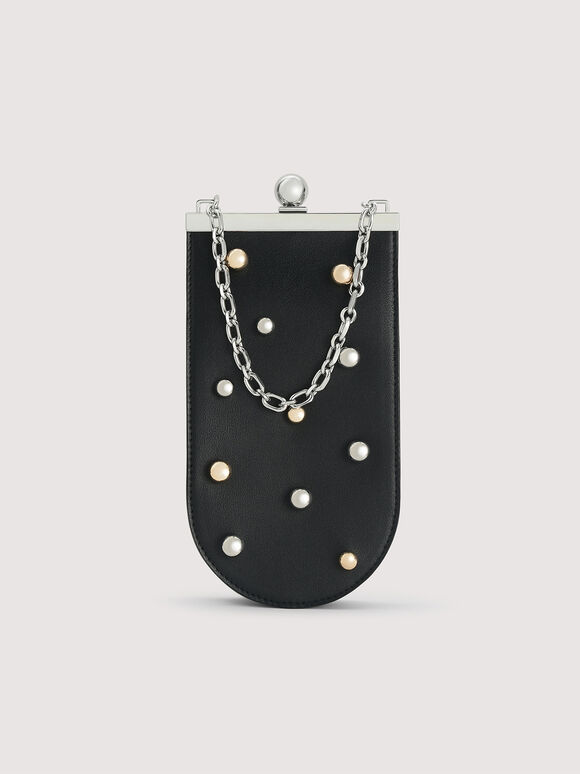 Mini Bucket Bag with Pearl Embellishment, Black, hi-res