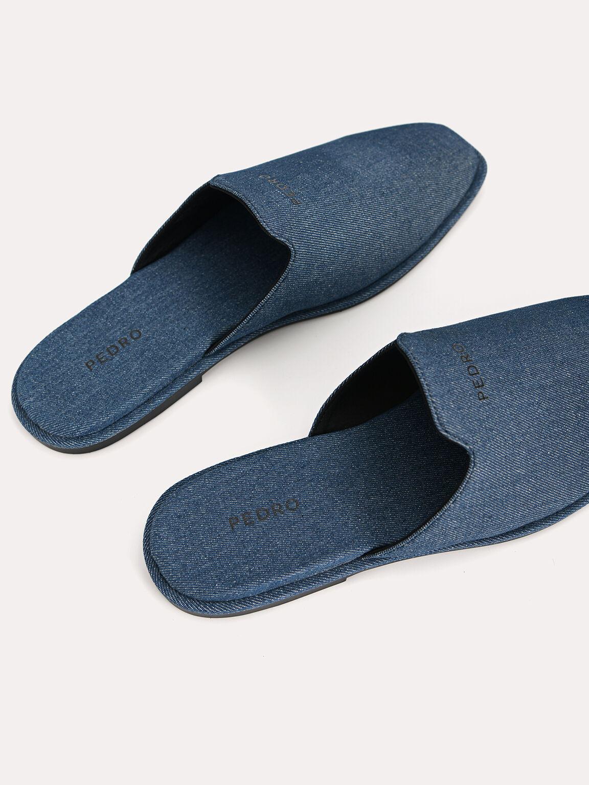 Slip-On Denim Mules, Blue, hi-res