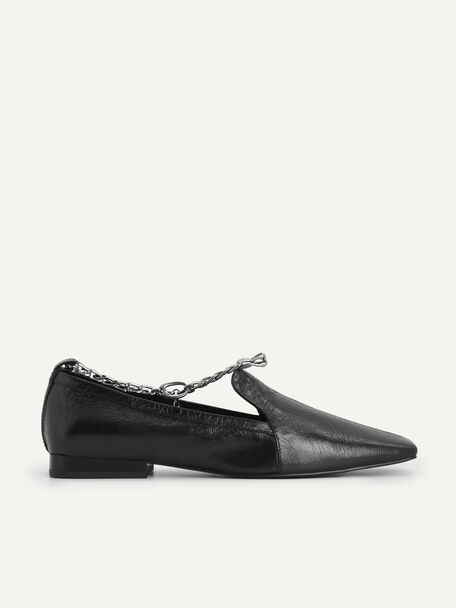 Chain-Strap Leather Loafers, Black, hi-res