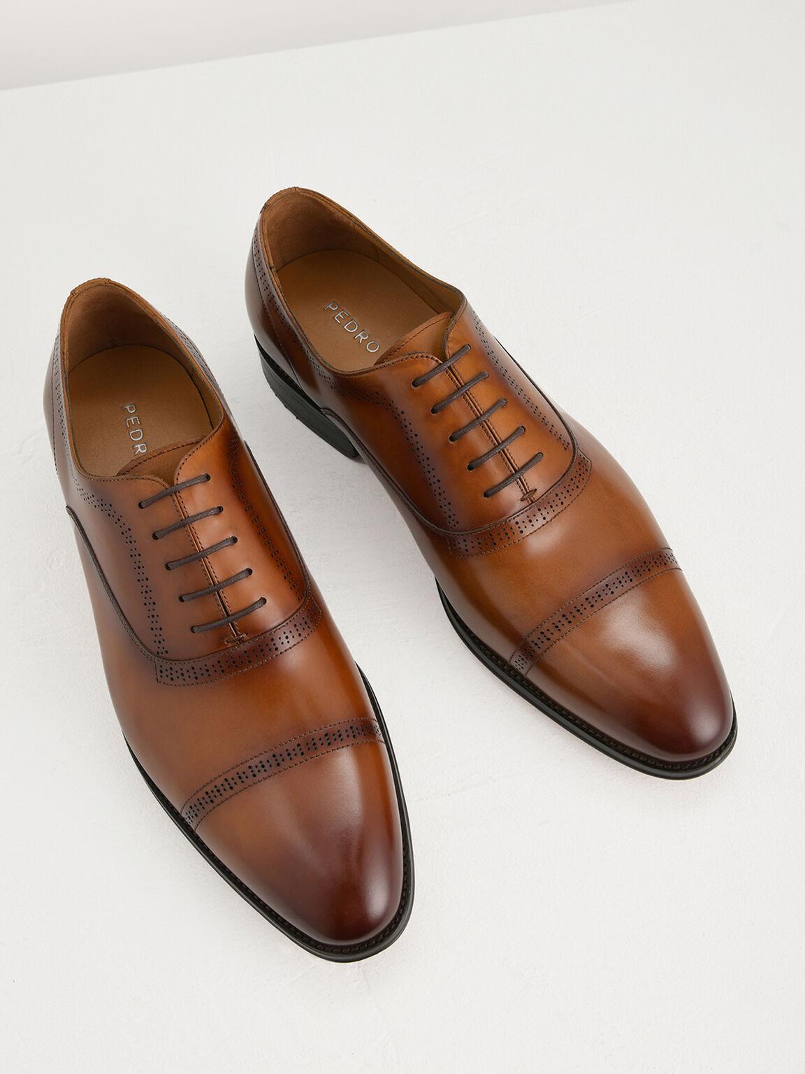 Leather Oxfords, Cognac, hi-res