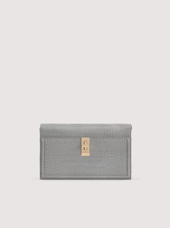 Embossed Leather Shoulder Bag, Light Grey, hi-res