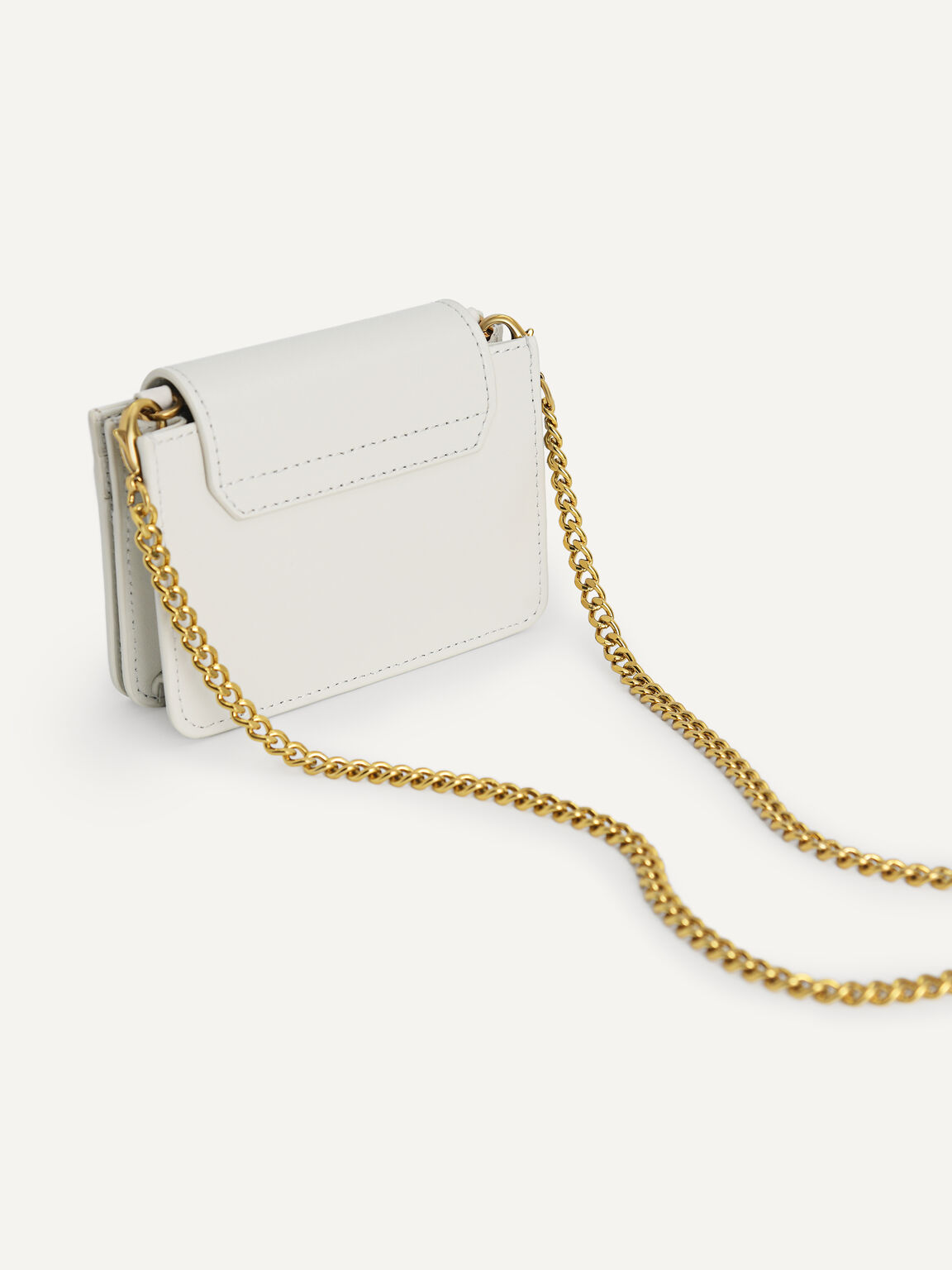 Leather Pouch with Chain Handle, Chalk, hi-res