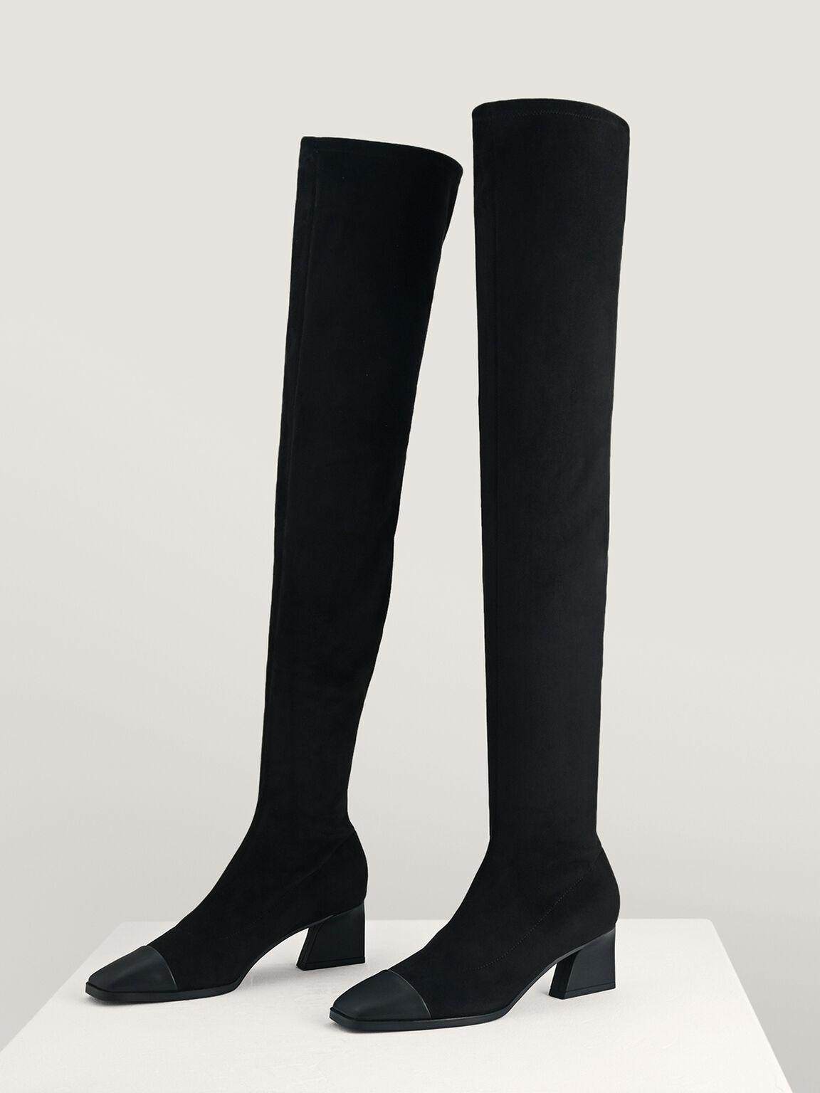 Knee High Boots, Black, hi-res
