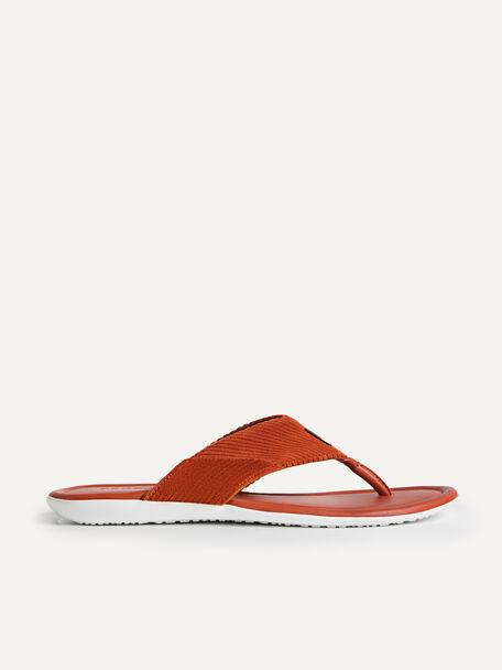 Corduroy Thong Sandals, Cognac, hi-res