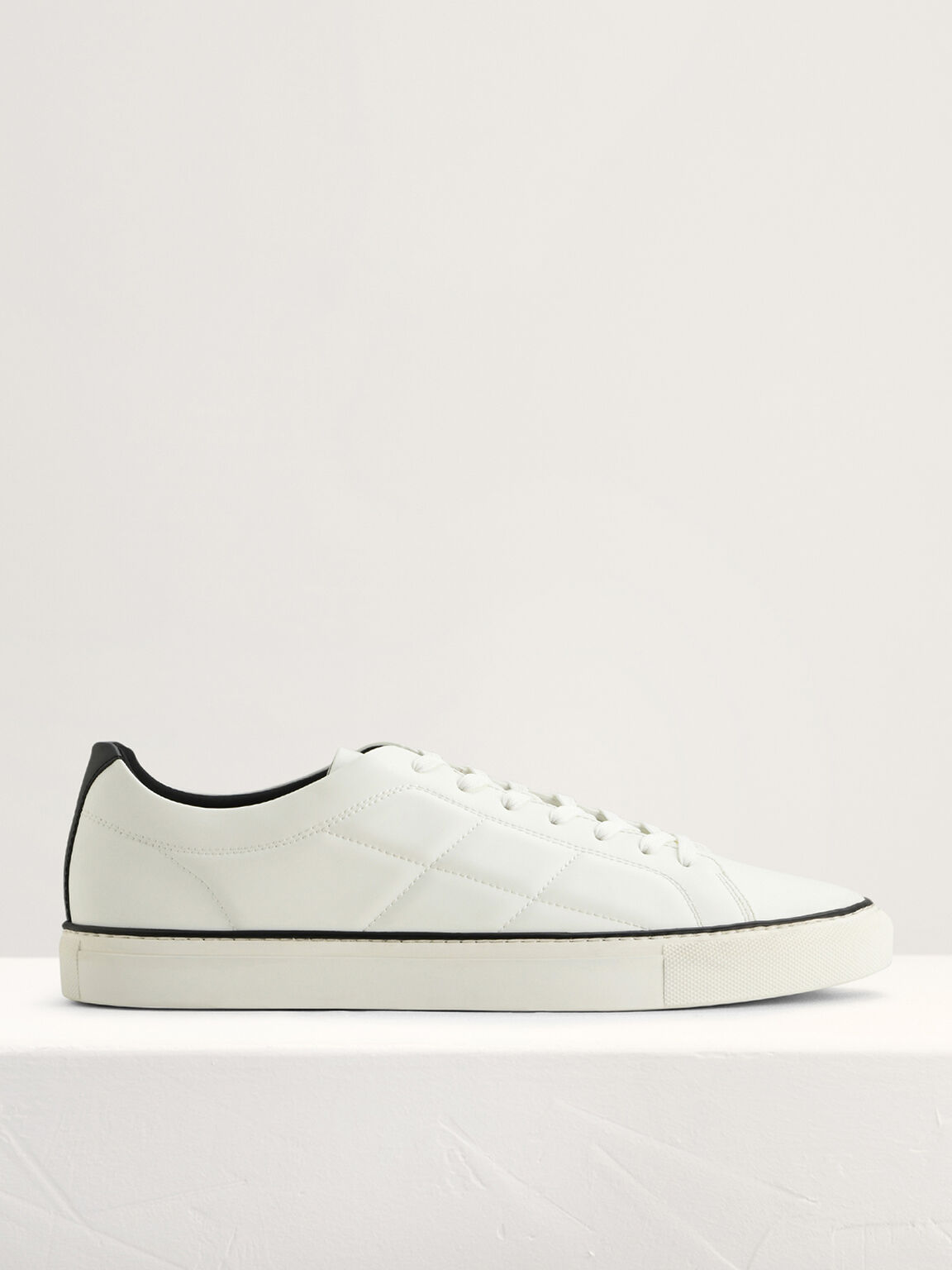 Quilted Court Sneakers, White, hi-res