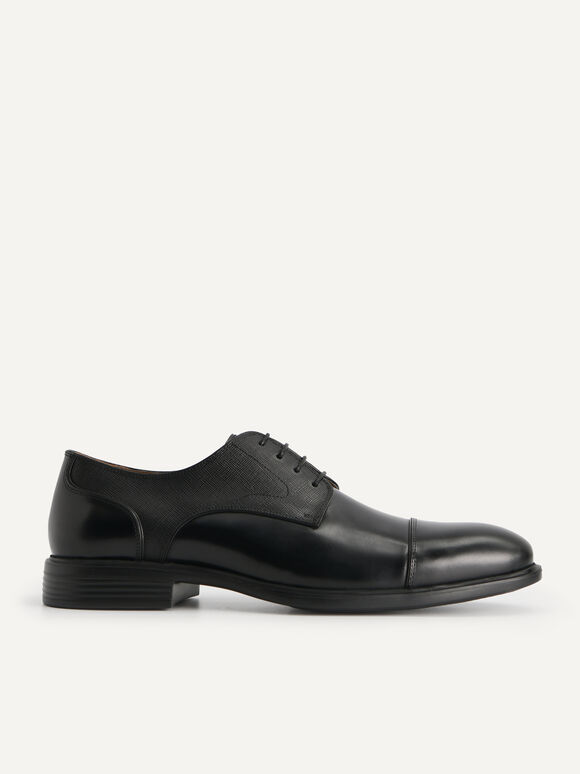 Textured Leather Derby Shoes, Black, hi-res