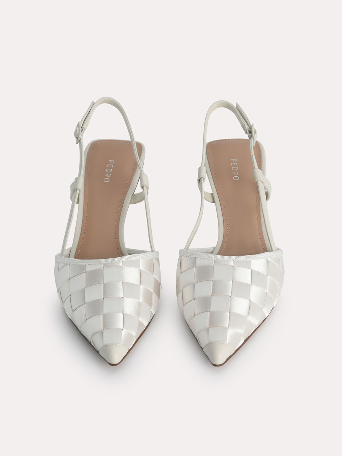 Woven Satin Pumps, Chalk, hi-res