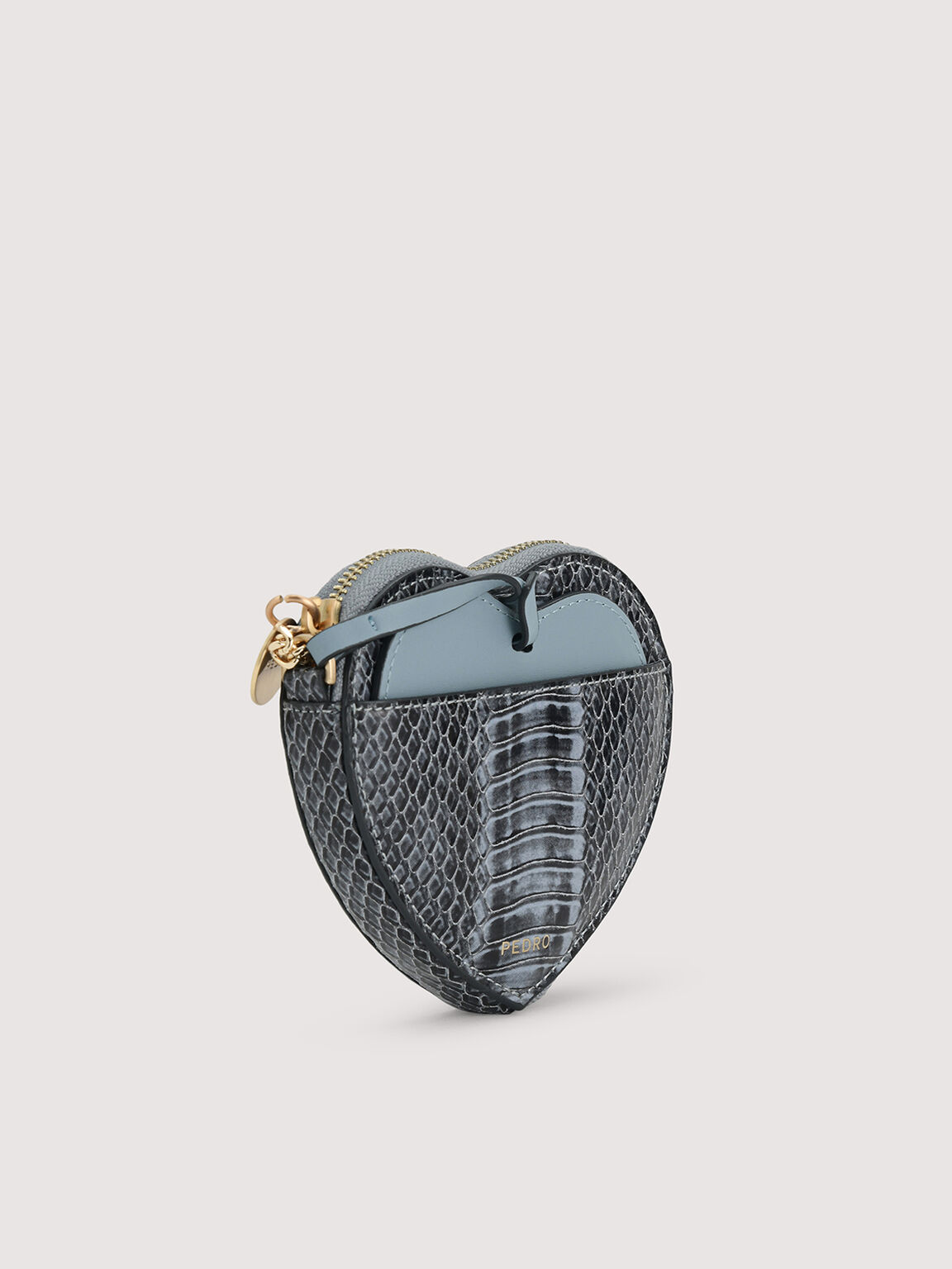 Snake-Effect Heart Coinpouch, Slate Blue, hi-res