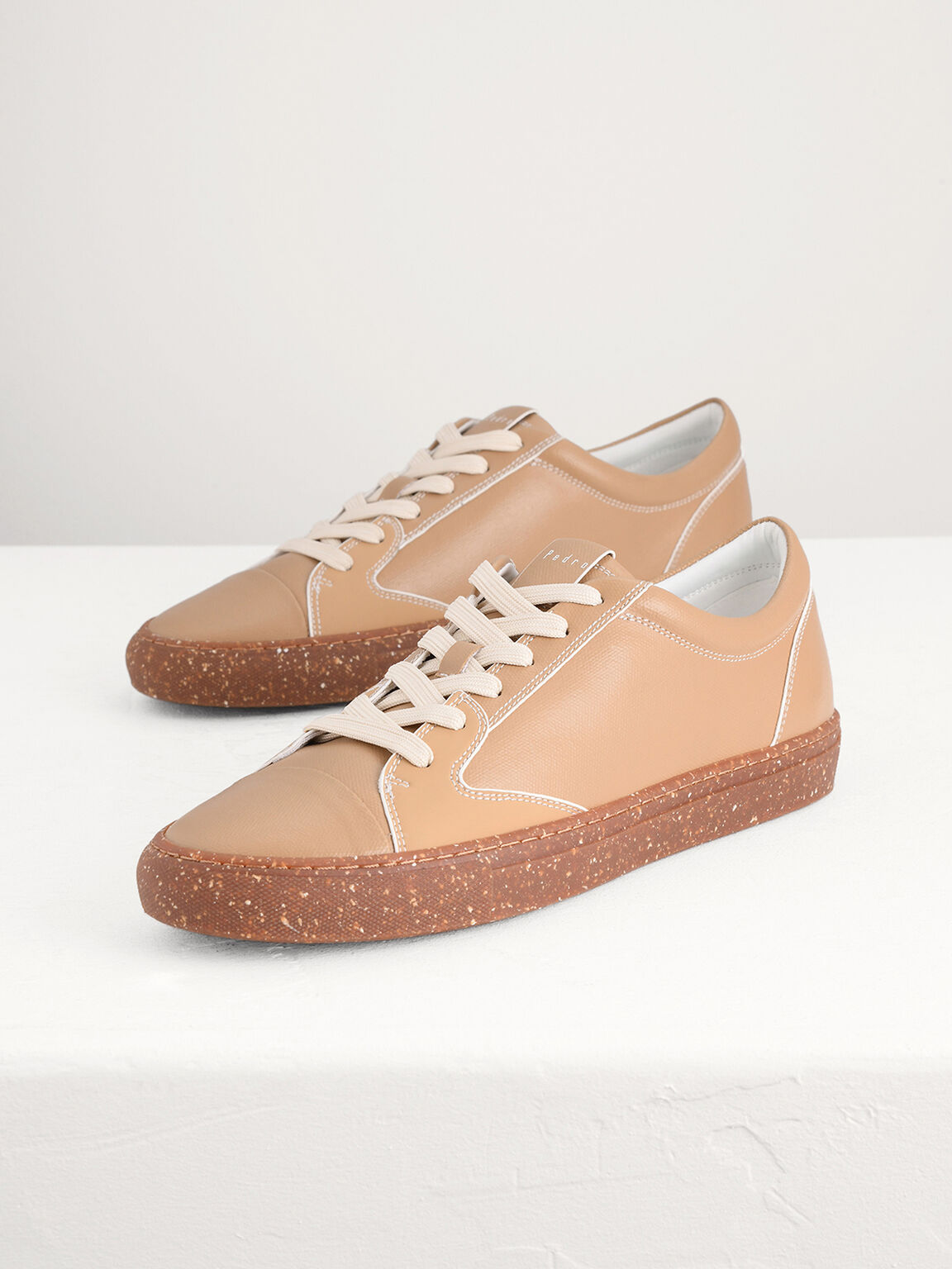 Sustainable Court Sneakers, Camel, hi-res
