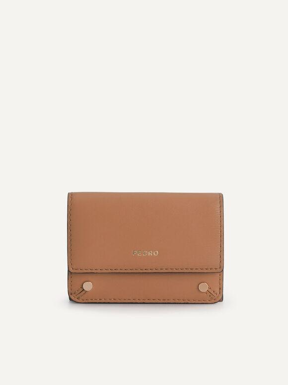 織紋三折疊皮革錢包, 驼色, hi-res