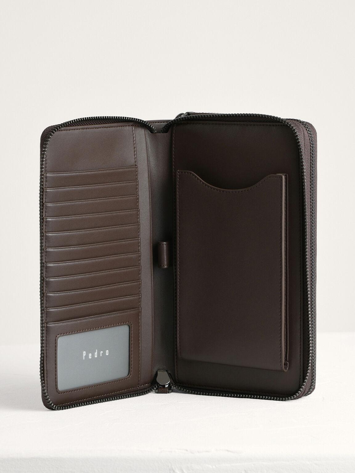 Leather Zip-Around Travel Organizer, Dark Brown, hi-res
