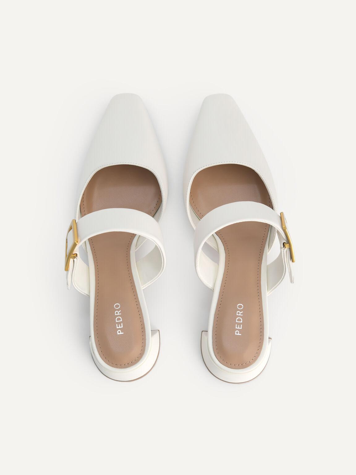Leather Slip-On Heels, Chalk, hi-res