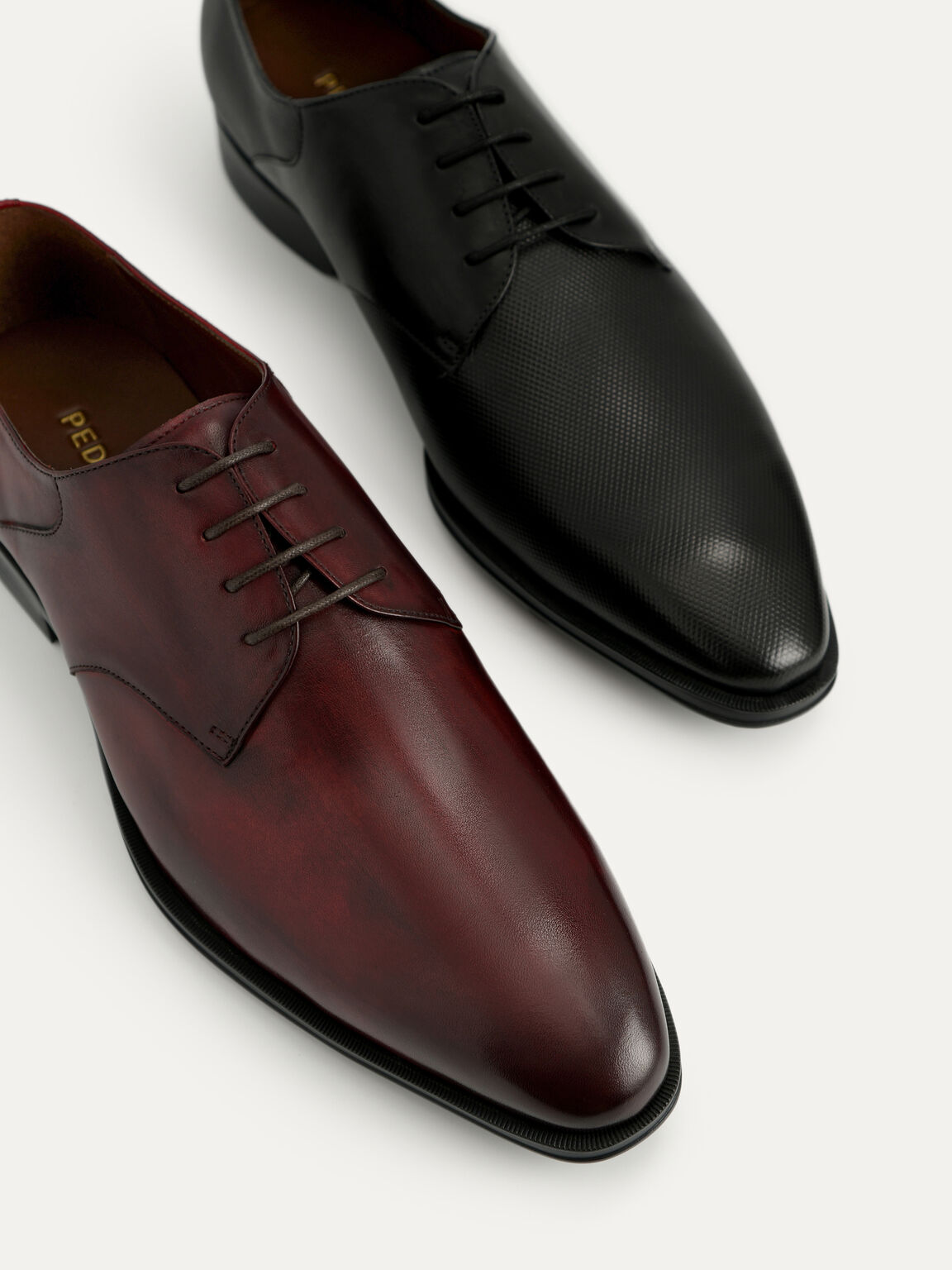 Leather Derby Shoes, Maroon, hi-res
