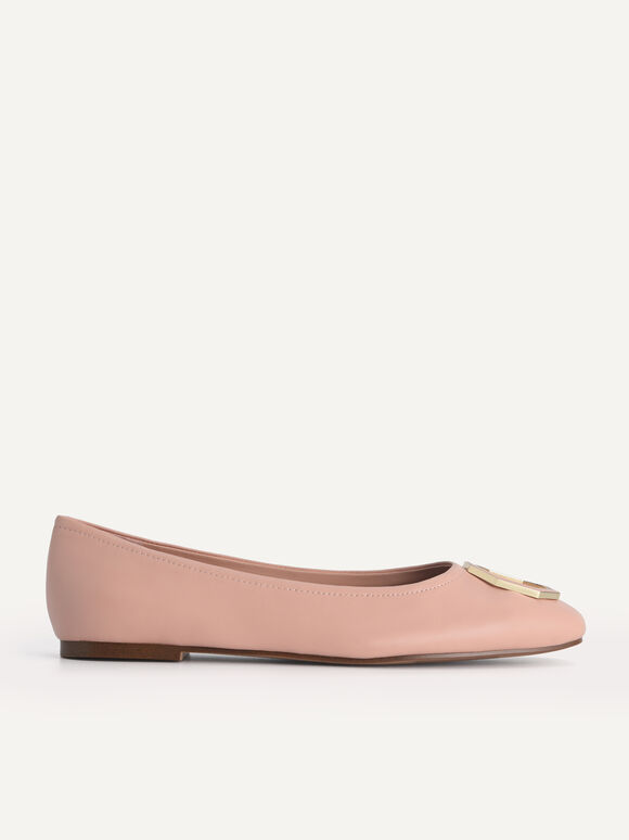 Leather Ballerina Flats, Blush, hi-res