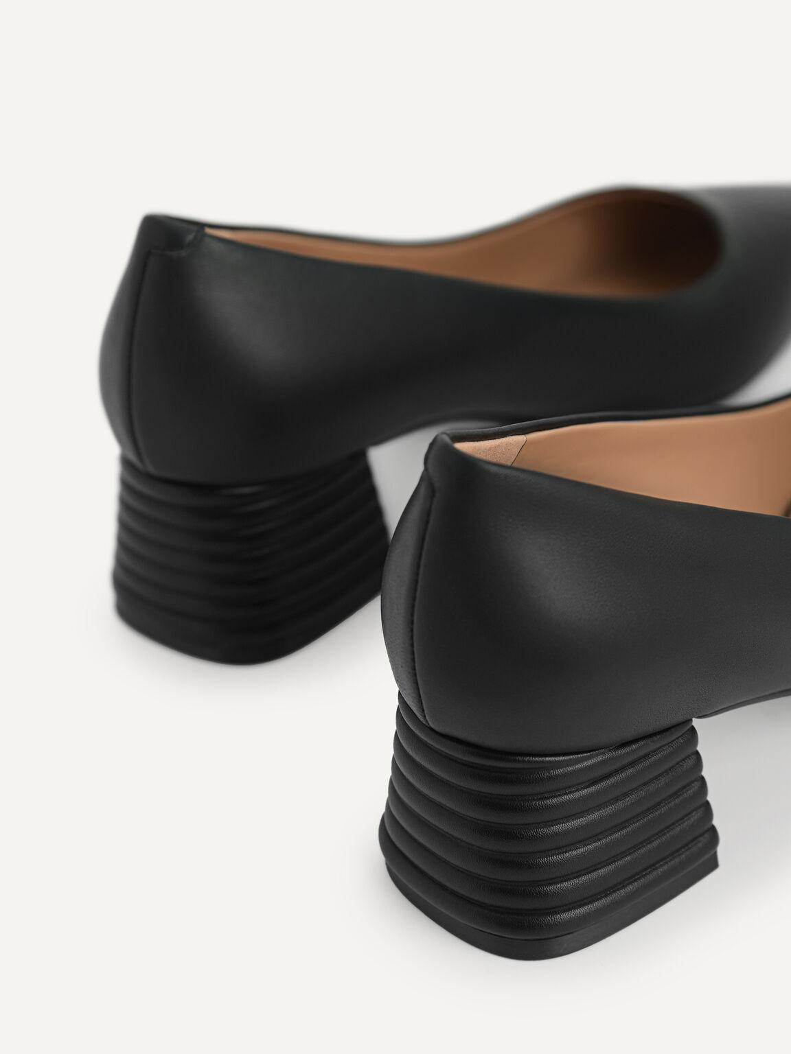 Square Toe Leather Pumps, Black, hi-res