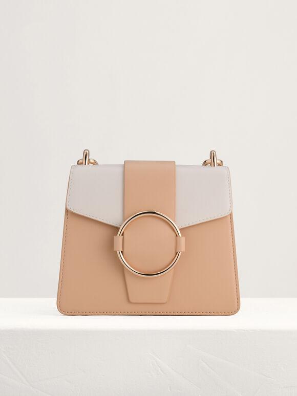 Buckled Shoulder Bag in Two-Tone, Multi, hi-res