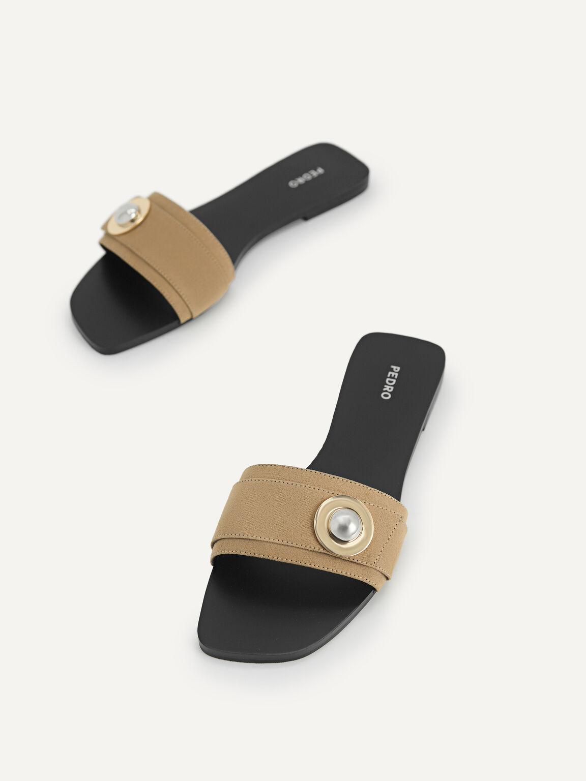 Metal-Embellished Sandals, Taupe, hi-res