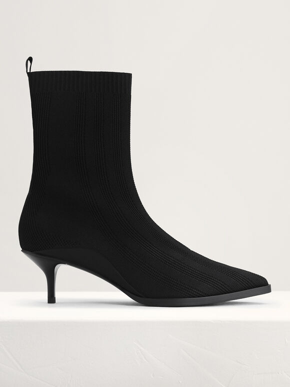 Knit Sock Boots, Black, hi-res