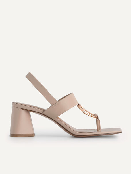 Leather Heeled Sandal With Gold Buckle, Nude, hi-res