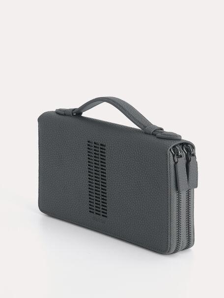 Textured Leather Travel Organiser, Grey, hi-res