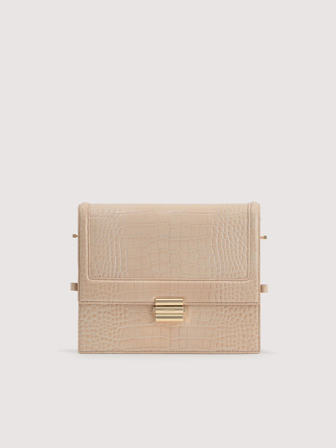Boxy Embossed Leather Shoulder Bag, Nude, hi-res