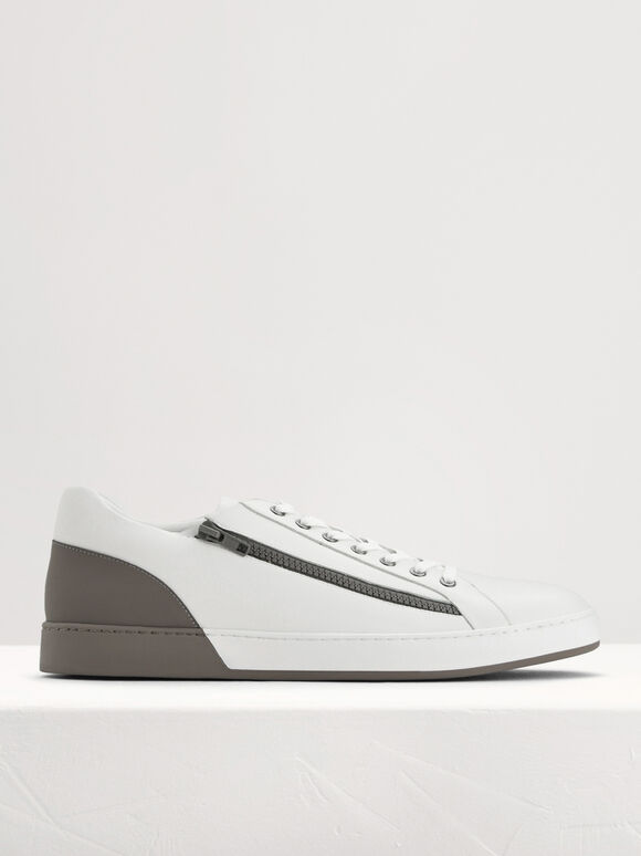 Zip-On Court Sneakers, Taupe, hi-res