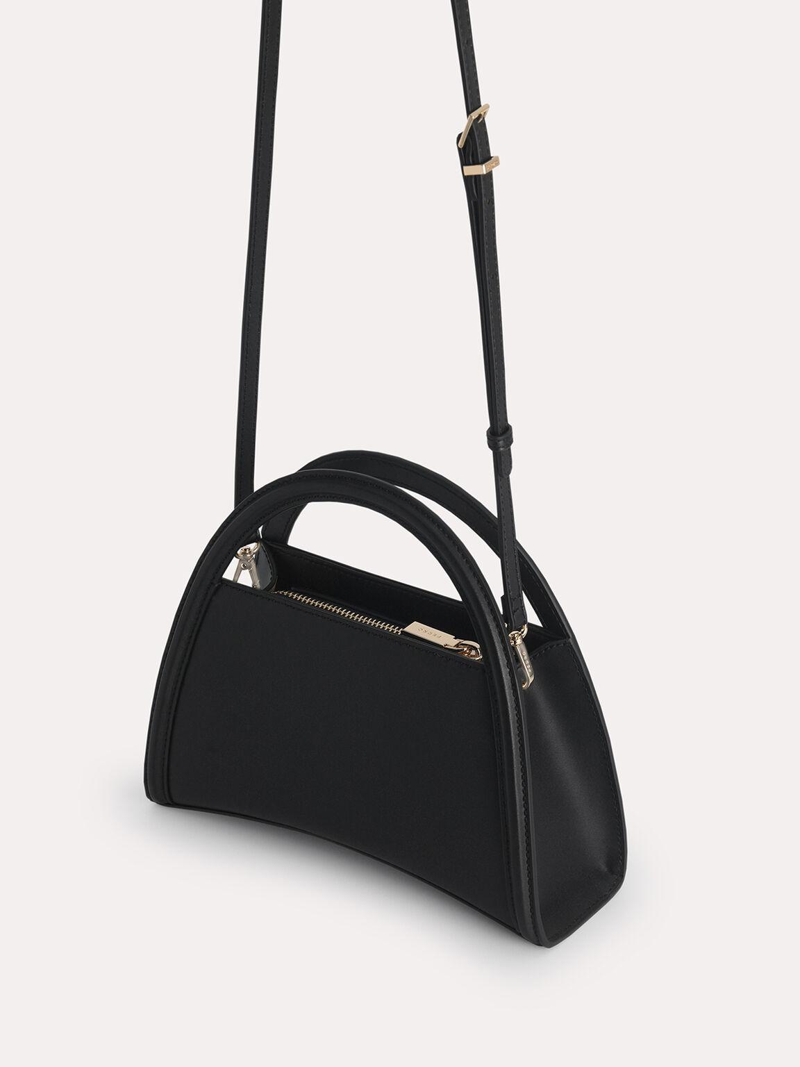 Mini Leather Shoulder Bag, Black, hi-res