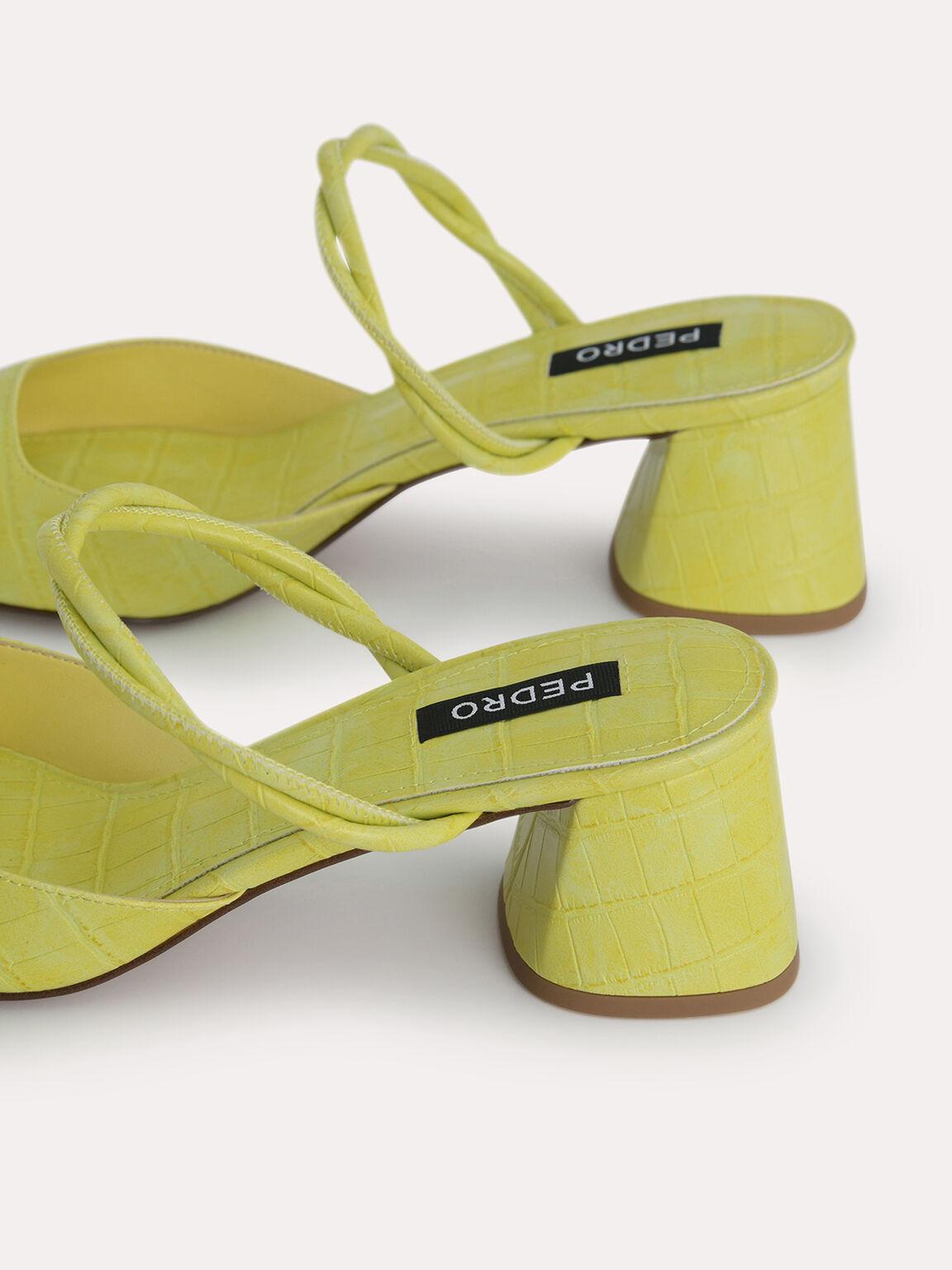Croc-Effect Heeled Mules, Yellow, hi-res