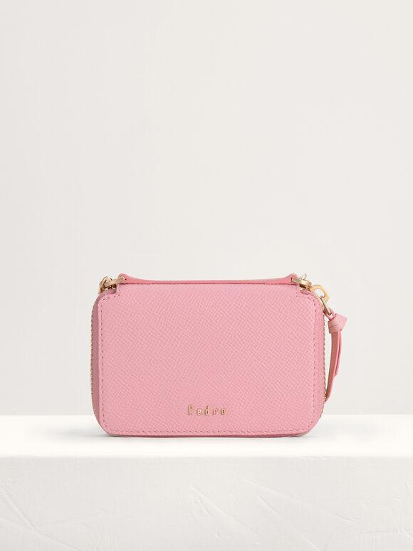 Leather Zip Wallet, Light Pink, hi-res