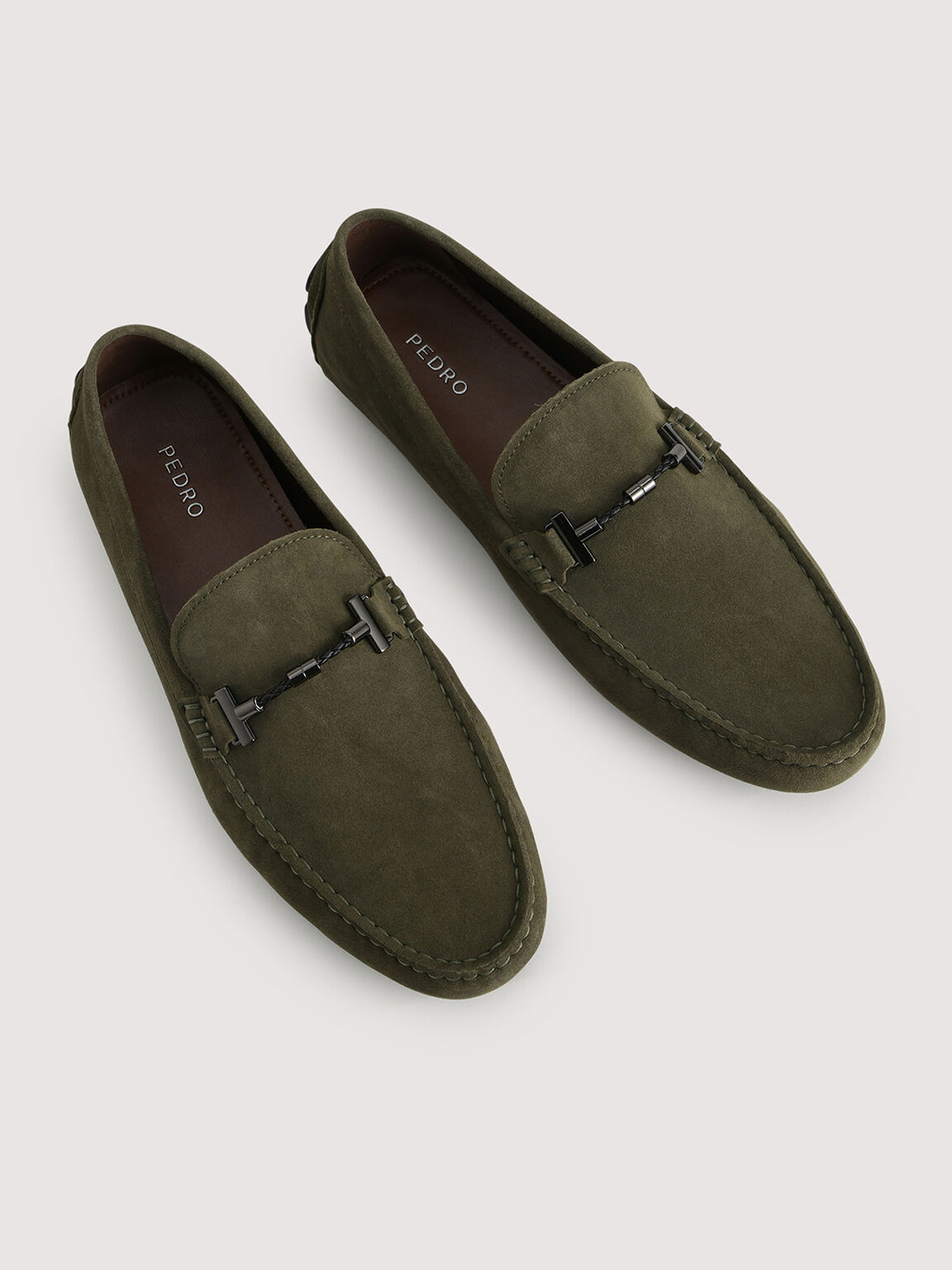 Calf Suede Loafers, Military Green, hi-res