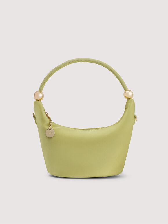 Satin Crescent Top Handle Bag, Light Green, hi-res