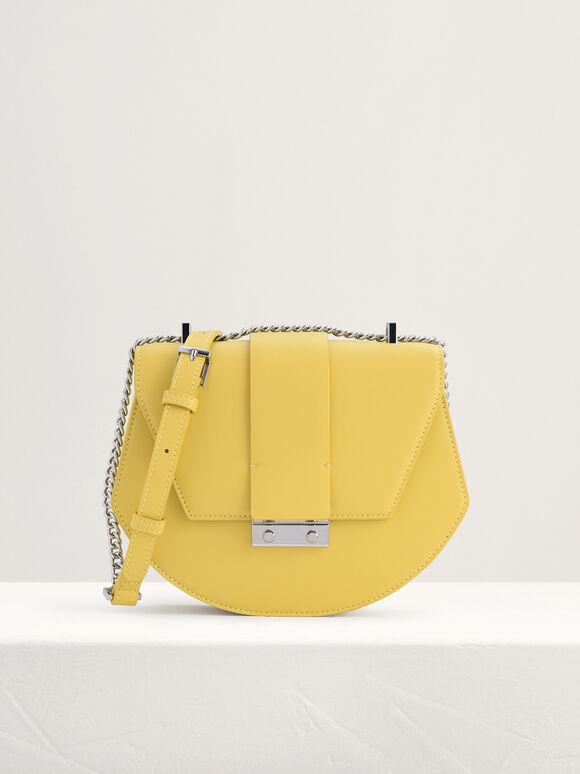 Front Flap Shoulder Bag, Yellow, hi-res