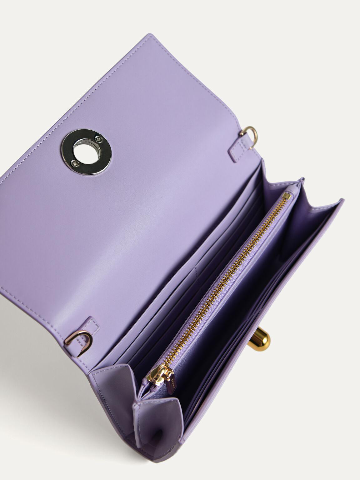 Leather Bi-Fold Wallet with Detachable Chain, Mauve, hi-res