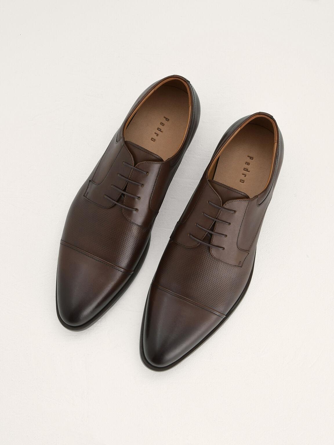 Leather Derby Shoes, Dark Brown, hi-res