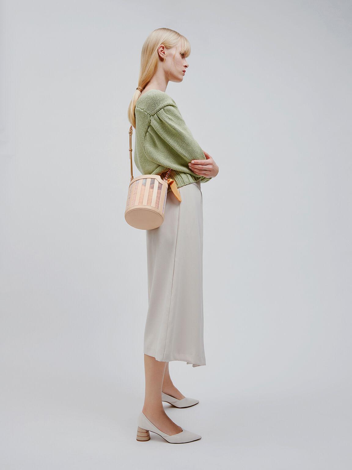 Striped Bucket Bag, Light Nude, hi-res