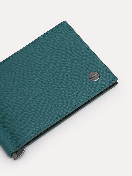 Leather Bi-Fold Card Holder with Money Clip, Dark Green, hi-res