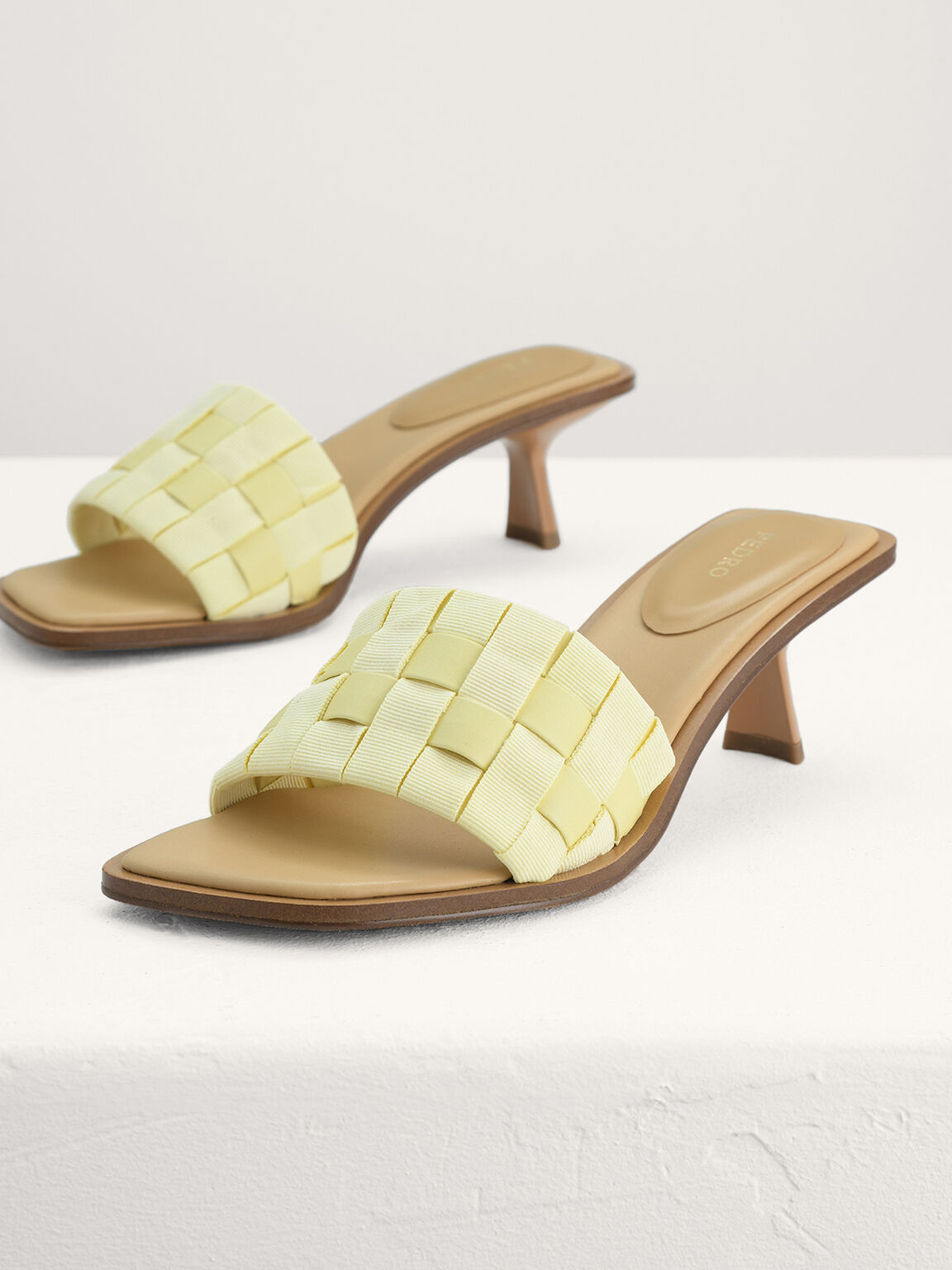 Braided Heeled Sandals, Yellow, hi-res