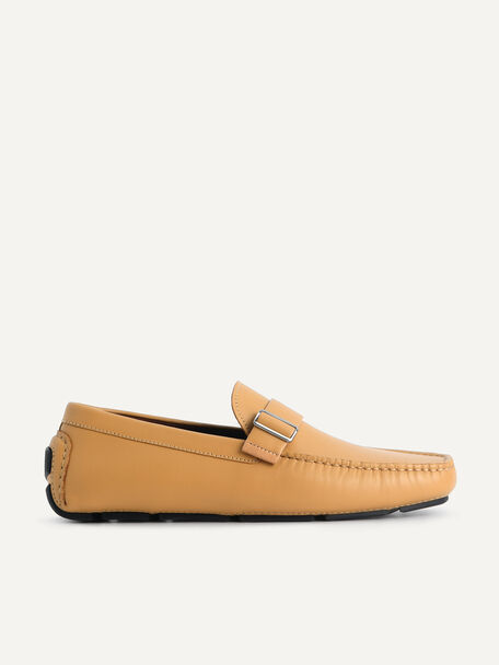 Leather Moccasins with Buckle Detail, Camel, hi-res