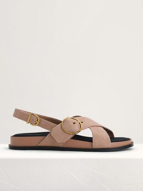 Platform Slingback Sandals, Nude, hi-res